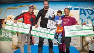 Podio del Campeonato Madrid SnowZone para periodistas con Pablo Egea...