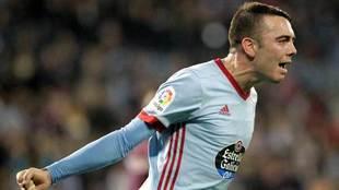 Aspas celebra uno de los goles que ha marcado con el Celta.