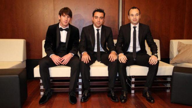 Los tres finalistas del Balón de Oro en el que Iniesta quedó segundo...