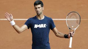 Djokovic, durante un entrenamiento