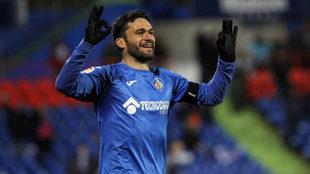 Jorge Molina celebrando un gol con el Getafe