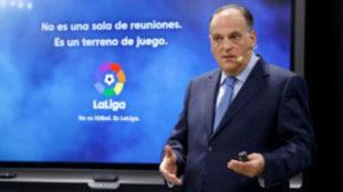 Javier Tebas durante un conferencia en la sede de LaLiga.