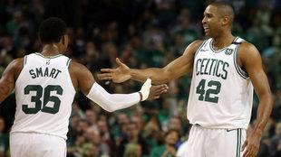 Los Celtics celebran el triunfo ante los Bucks