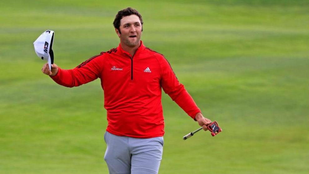 Jon Rahm celebra su triunfo en el Open de España de golf.