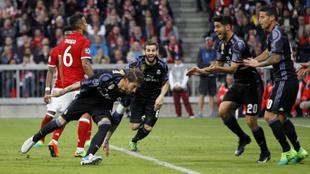 Ramos, en el partido de la pasada temporada entre el Bayern y el Real...
