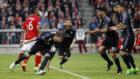 Ramos celebra su gol la pasada temporada en el Allianz.