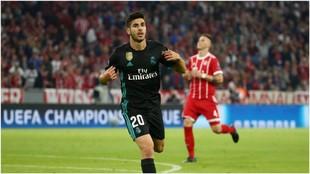 Así celebra Marco Asensio el gol del triunfo del Real Madrid.