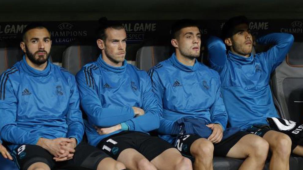 Benzema, Bale, Kovacic y Asensio, antes del partido