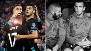 Lucas Vázquez, Marco Asesio y Sergio Ramos celebrando y Benzemá y...