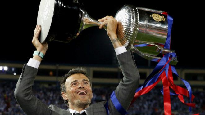 Luis Enrique, celebrando la conquista de la Copa de la pasada...