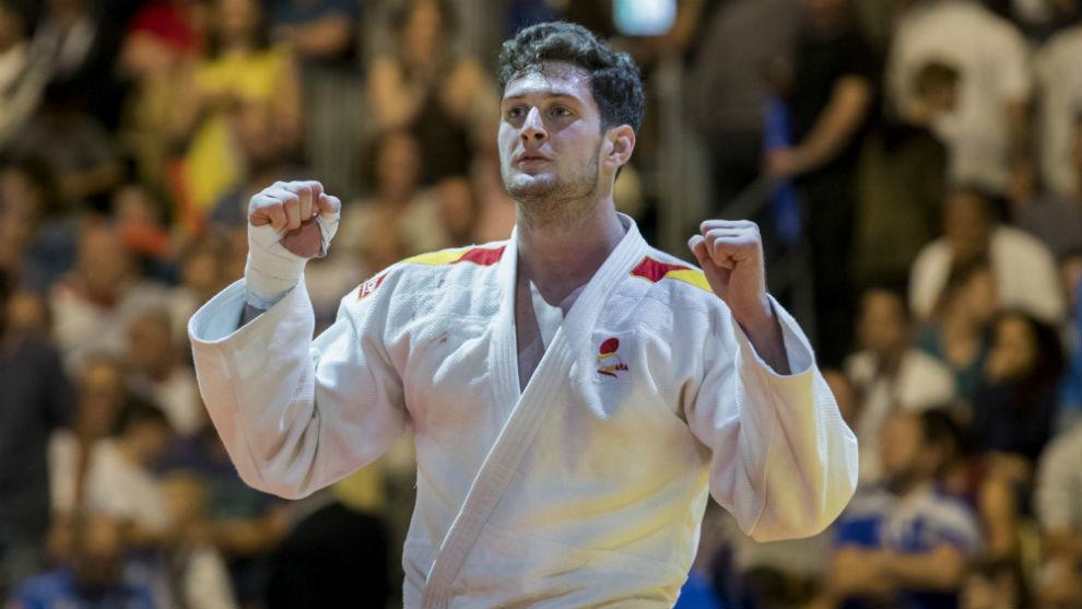 Niko Sherazadishvili, tras ganar un combate en el Europeo.