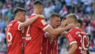 El Bayern celebra el gol de Dorsch