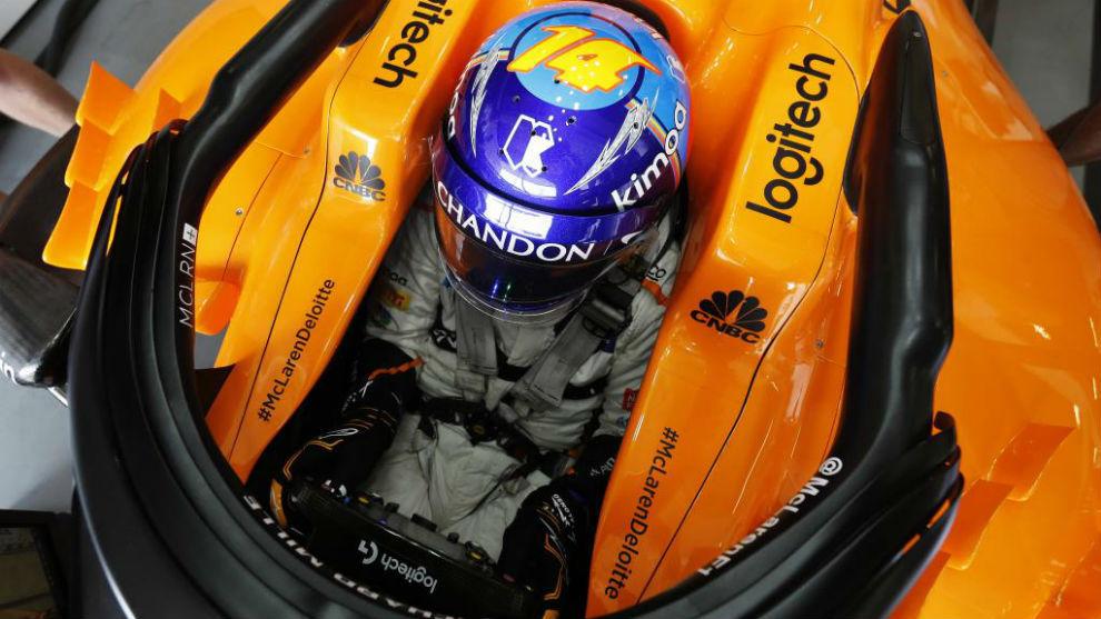 Fernando Alonso en el circuito de Bakú
