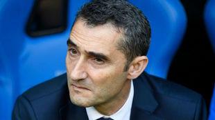 Ernesto Valverde durante el partido ante el Dépor.