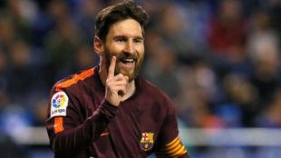 Messi celebrando uno de los goles ante el Deportivo.