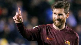 Messi durante el partido ante el Deportivo.