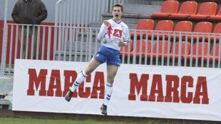 Jorge de Frutos celebra un gol con el Rayo Majadahonda.