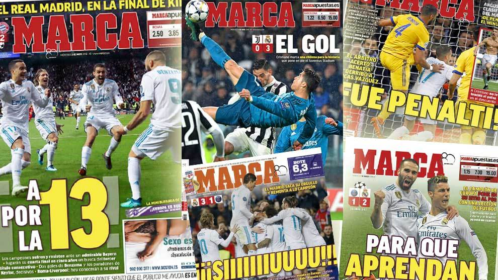 El camino del real madrid a la final en las portadas de for El marca del madrid