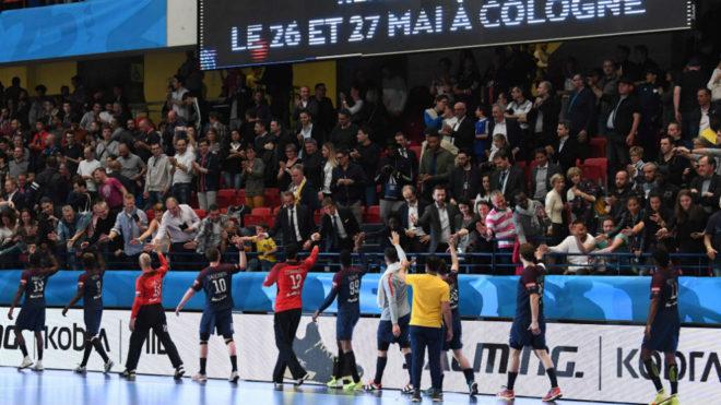 Los jugadores del PSG celebran su pase a la Final Four