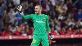 Jasper Cillessen celebra un gol del Barça durante la pasada final de...