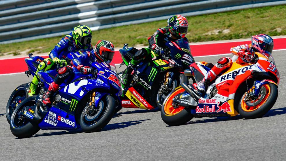 Márquez, liderando sobre Zarco, Viñales y Rossi, en Austin durante...