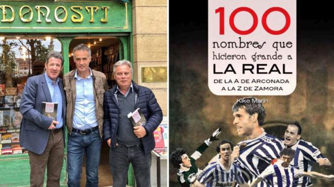 Kodro y López Ufarte, junto a Kike Marín, autor del libro 100...