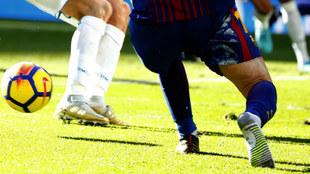 Leo Messi, durante el partido Real Madrid - Barcelona.
