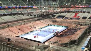 Un aspecto del estadio Pierre Mouroy de Lille adaptado al tenis.