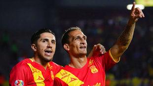 Loeschbor celebra un gol en Morelia