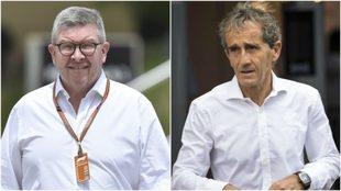 Ross Brawn y Alain Prost.