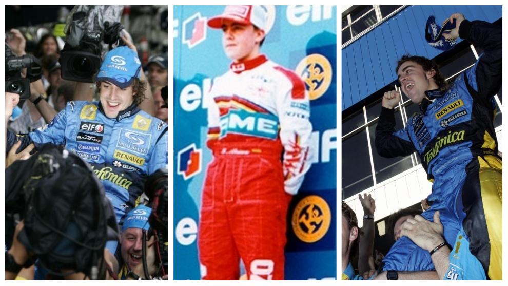 Fernando Alonso celebrando campeonatos