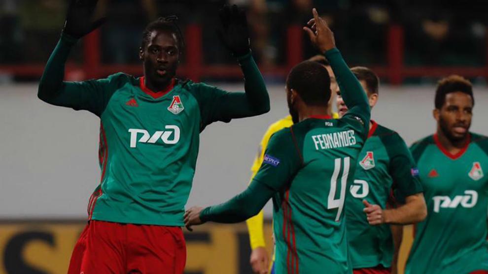 Eder celebra un gol con el Lokomotiv de Moscú.