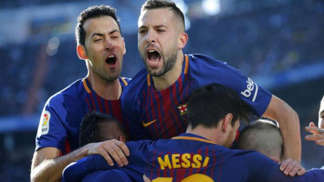 Los jugadores del Barça celebran un gol esta temporada