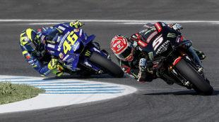 Zarco, por delante de Rossi.