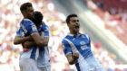 Los jugadores del Espanyol celebran el segundo gol de Baptistao.