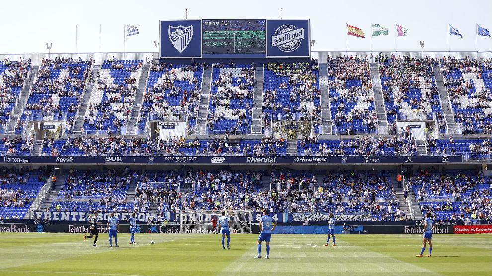 Aspecto de La Rosaleda en el último partido de Liga.