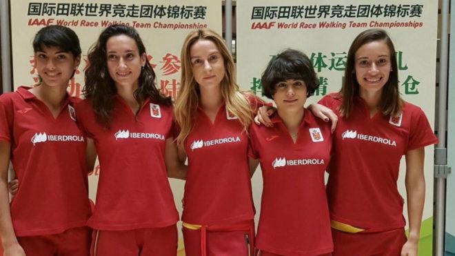 El quinteto femenino español de 20 km marcha en Taicang.