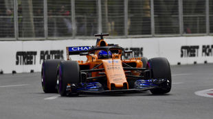 Fernando Alonso, sobre el McLaren en Bakú.