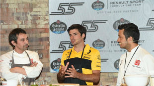 Carlos Sainz, en el 'showcooking' en Madrid.