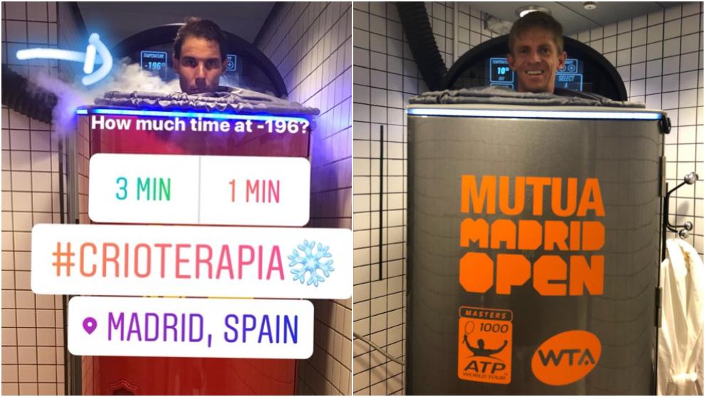 Rafa Nadal y Kevin Anderson probando la cabina de Cryosense en la Caja...