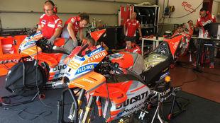 Lorenzo, en su box con dos Ducati.