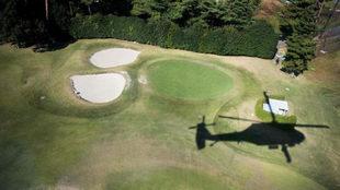 Vista aérea del Kasumigaseki Country Club de Tokio, sede olímpica en...
