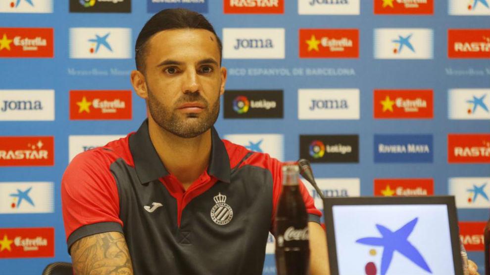 Sergio Sánchez, durante su presentación con el Espanyol en el RCDE...