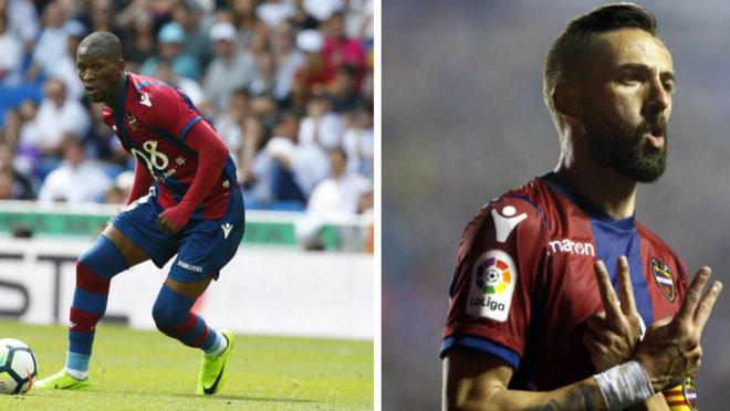 Morales y Lerma en dos acciones de juego.