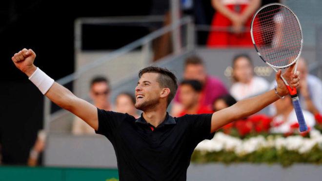 Dominic Thiem celebra su clasificación para semifinales del Mutua...