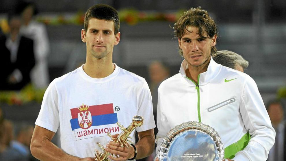 Nadal y Djojkovic tras la final de 2011
