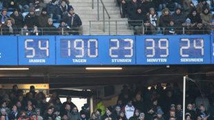 Imagen del reloj del Volksparkstadion que marca el tiempo que lleva el...