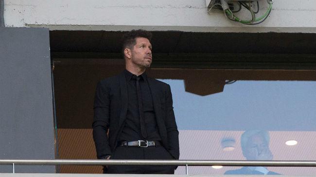 Simeone, en el palco del Wanda Metropolitano.