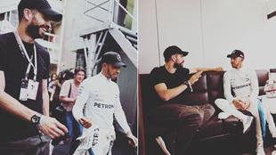 Piqué y Hamilton, en el GP de España de Fórmula 1