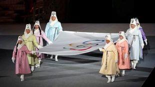 Detalle de la ceremonia de los Juegos de Invierno de Pyeongchang,...